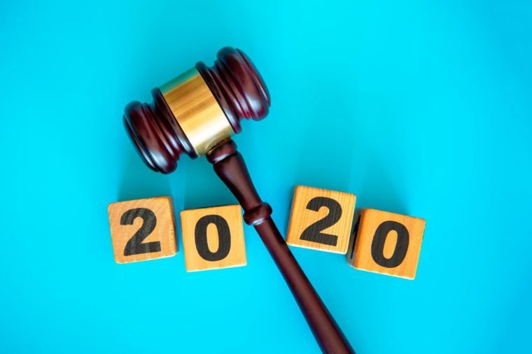 """gavel and """"2020"""" on blue background"""