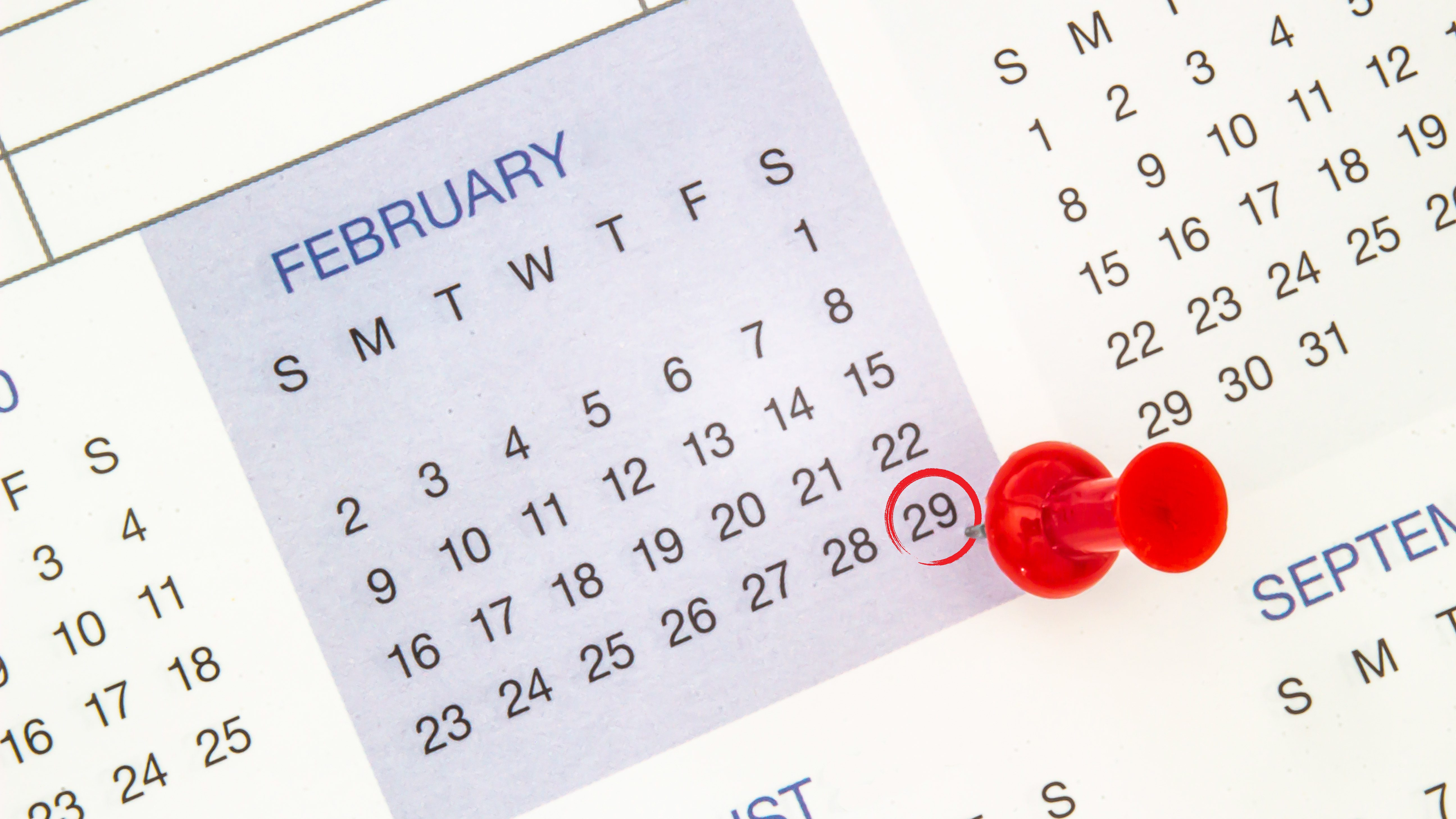 calendar with circle and pin on february 29th. leap day. leap year.