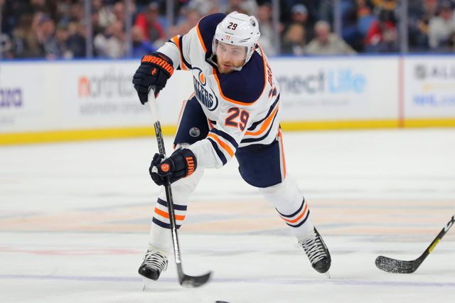 Leon Draisaitl #29 of the Edmonton Oilers takes a shot on goal against the Buffalo Sabres at KeyBank Center on January 2, 2020 in Buffalo, New York