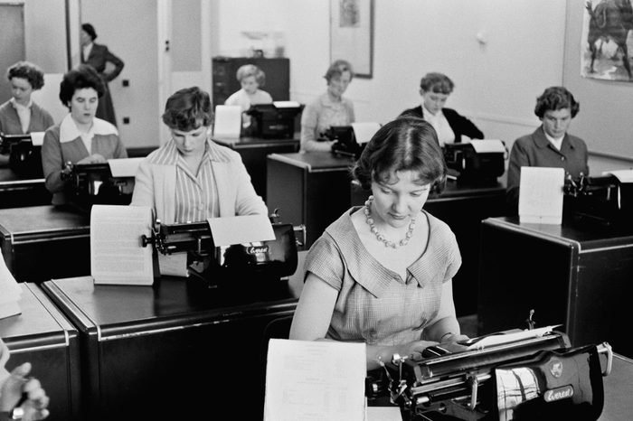 Typists at work at Unilever House in Blackfriars, London, September 1955