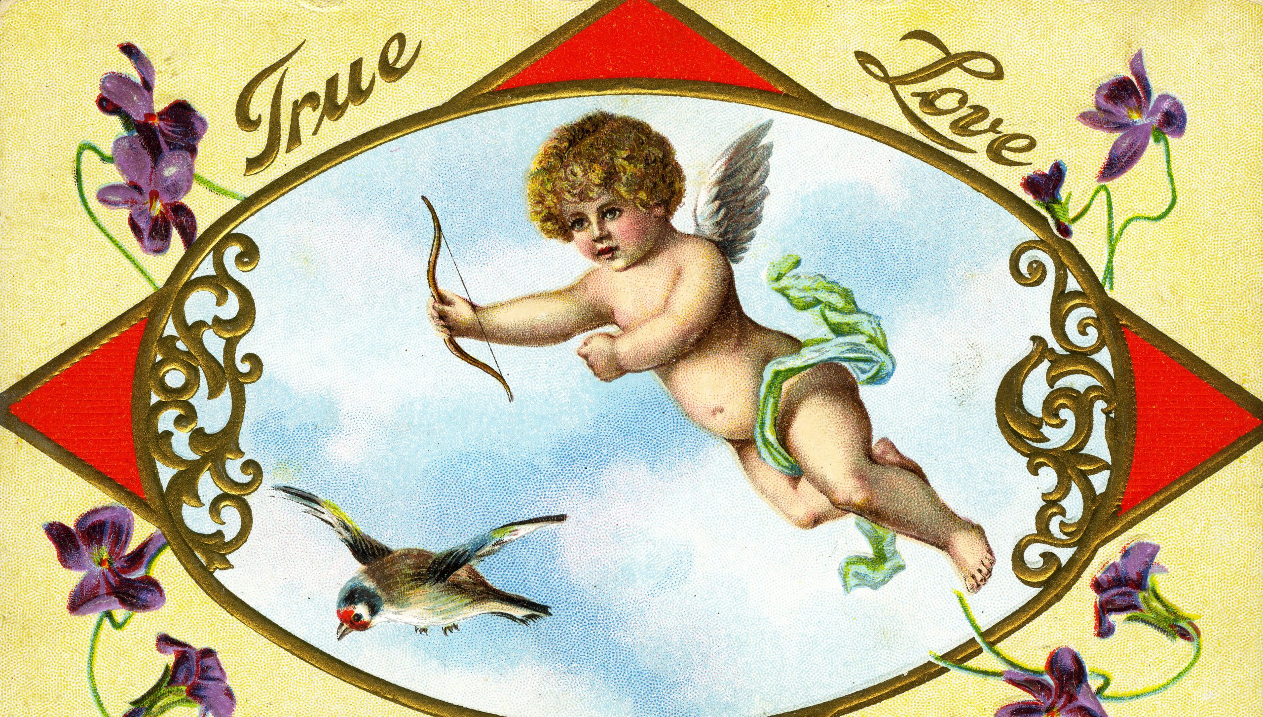 vintage Valentine postcard with cupid