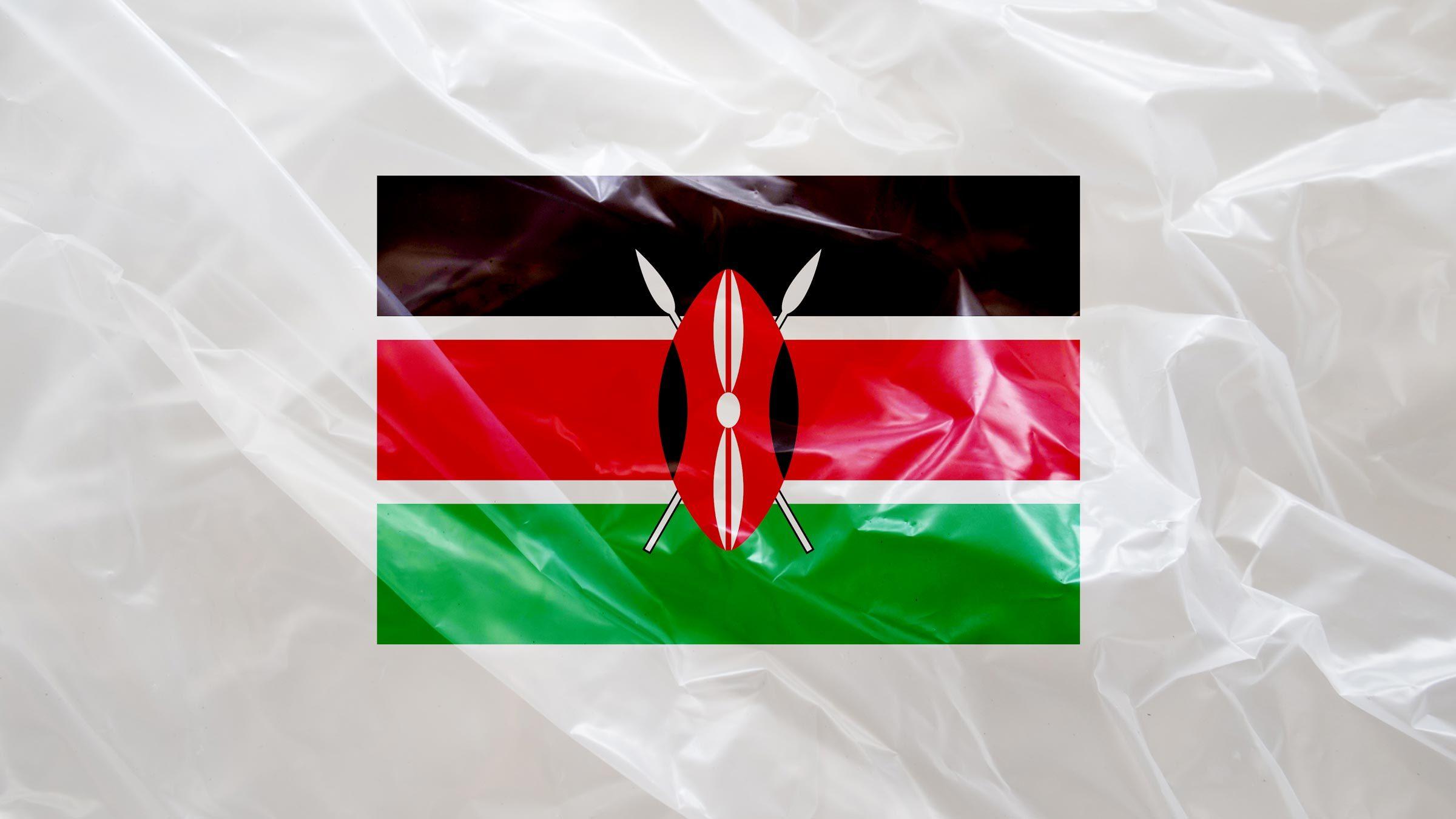 Kenya flag on plastic texture