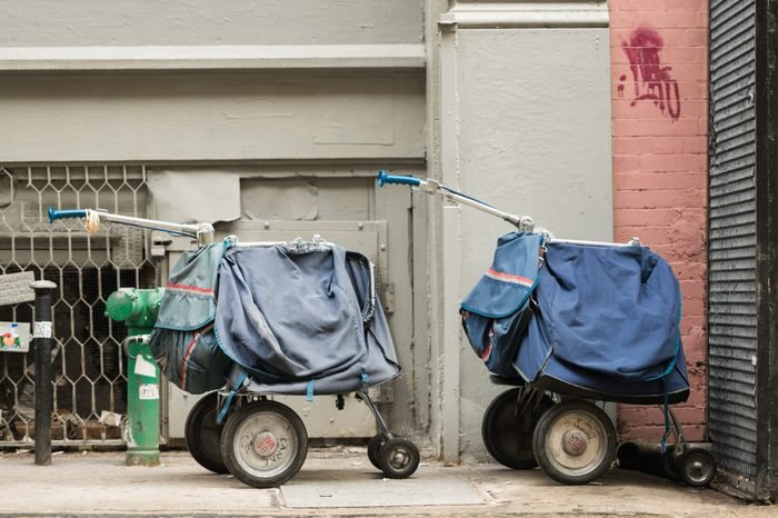 Mail carts on the sidewalk
