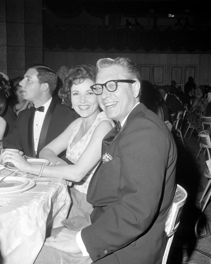 American TV personality Allen Ludden (1917 - 1981) and his wife, actress Betty White, at the 18th Emmy Awards, at the Hollywood Palladium, Los Angeles, 22nd May 1966.