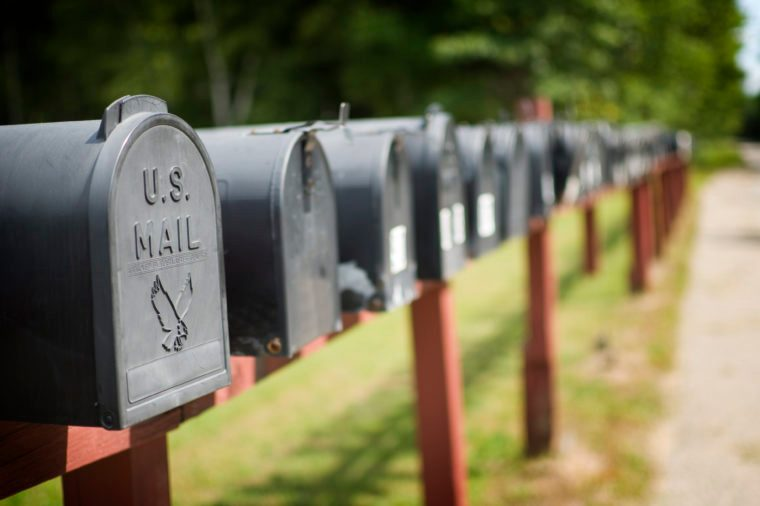 US mailboxes in a row.