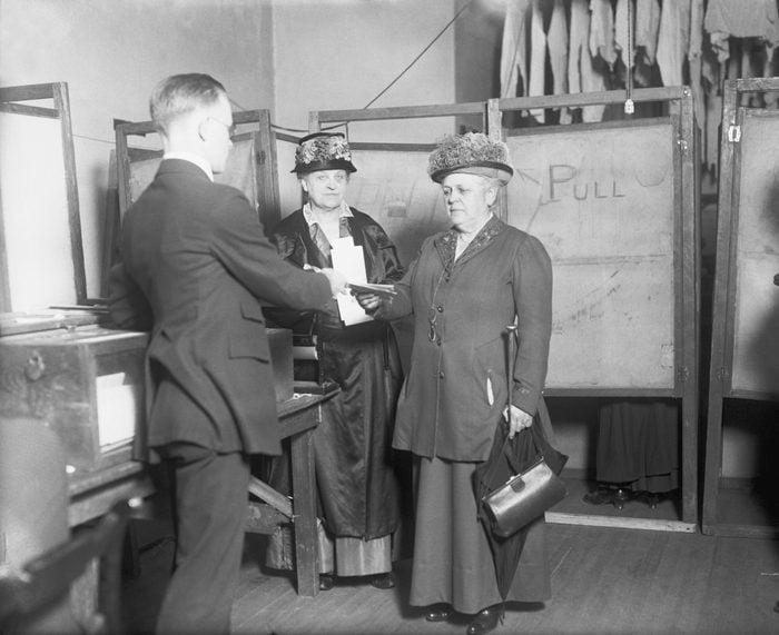 Mrs. Carrie Chapman Catt and Miss Mary Garrett Hay voting for president