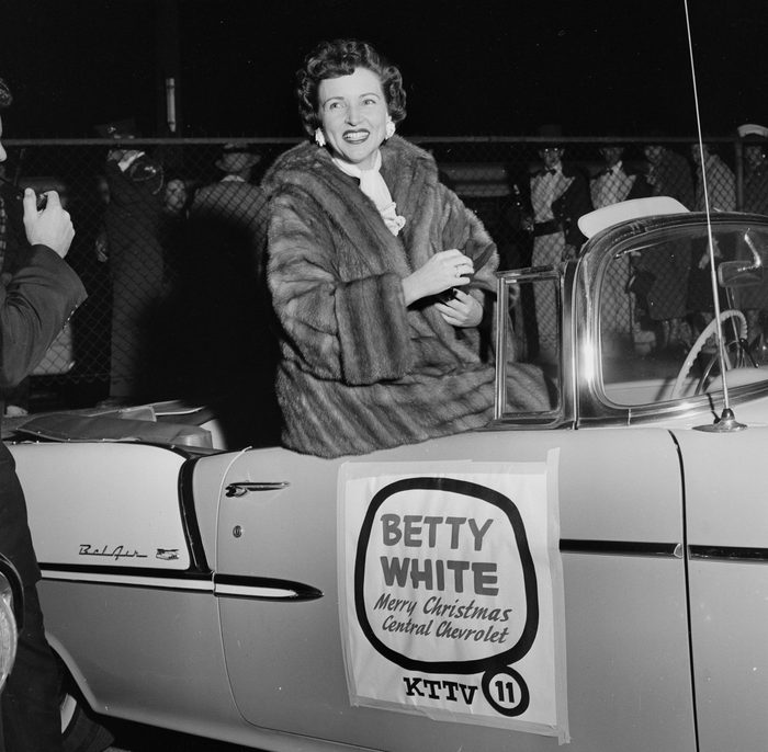 Betty White is honored as she rides in a Chevrolet in the Chirstmas Parade in Los Angeles,CA.