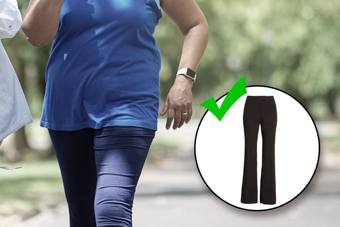Woman exercise walking with inset of pants