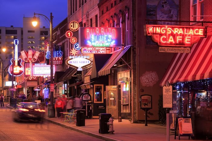 The night view of Beale Street Memphis, Tennessee