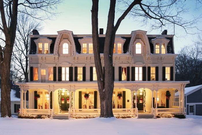 Grand Victorian Home in Winter at night, Inn at Cooperstown, Cooperstown, New York, USA
