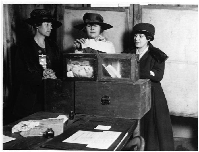 three women voting for the first time