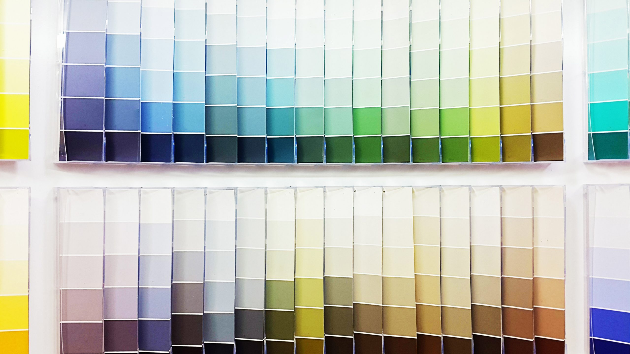 paint chips at a hardware store paint department