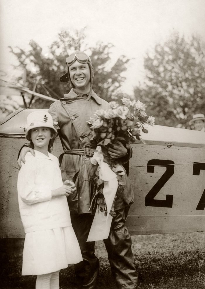Lt. James C. Edgerton with his sister Elizabeth after landing his Curtiss Jenny in Washington in the first scheduled air mail flight, 15th May 1918. Edgerton flew to the capital from Philadelphia.