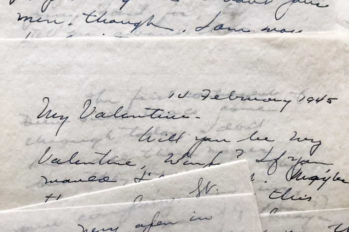 Lovely old letters from 1945 dated February 14, Valentines Day