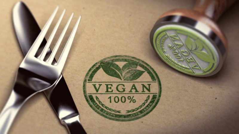 vegan stamp 100% fork knife