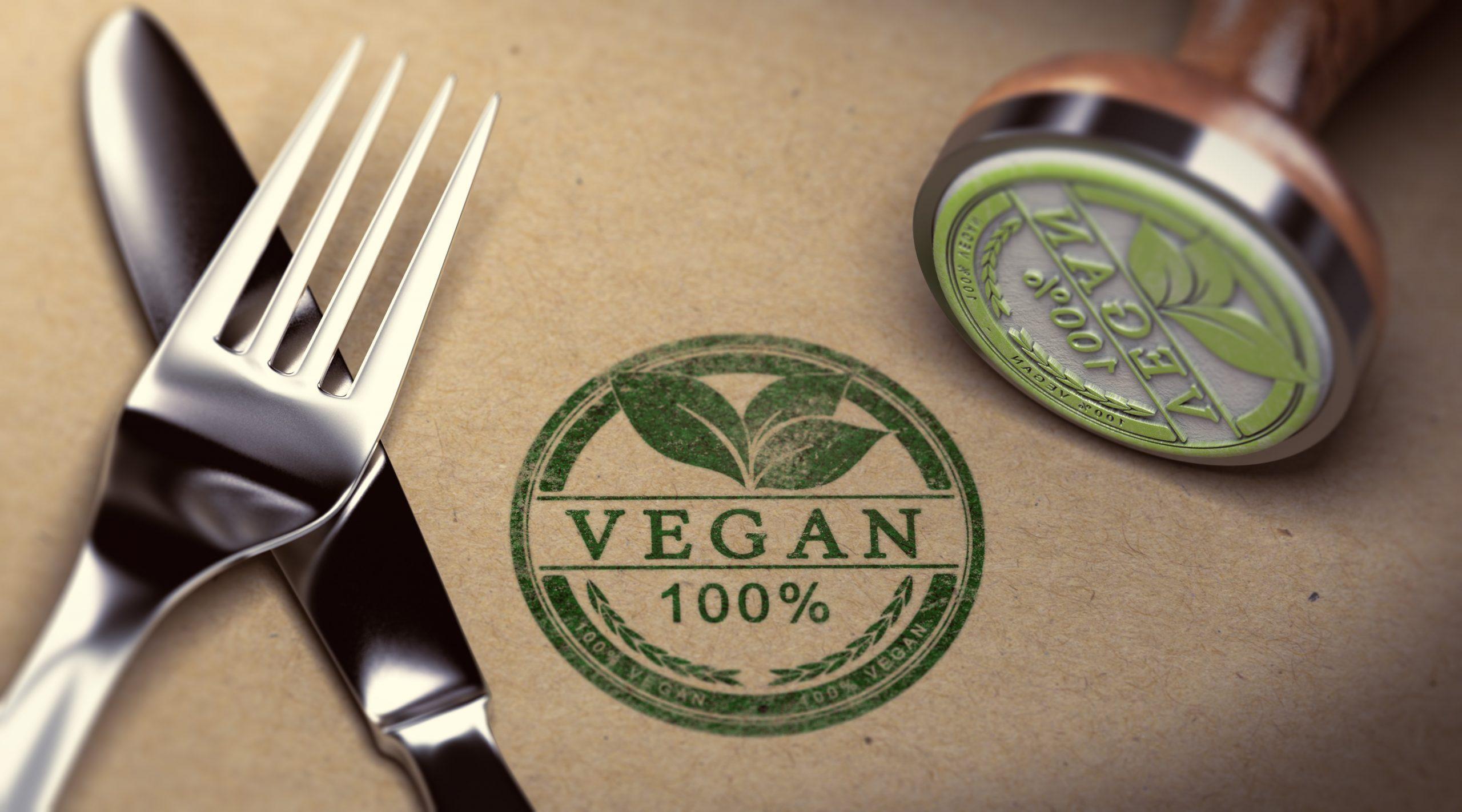vegan stamp 100% fork knife
