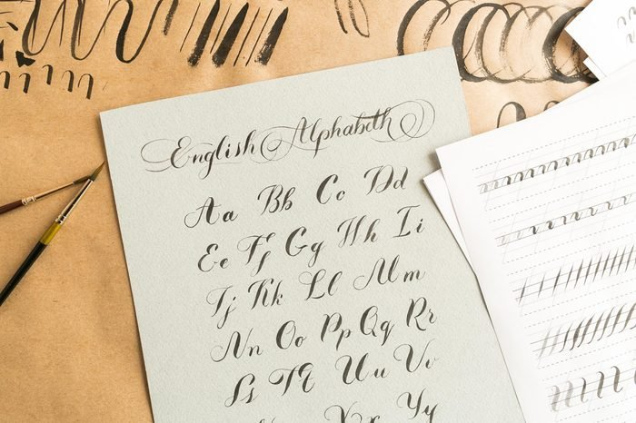 hand drawn brush script calligraphy. letters of the english alphabet.