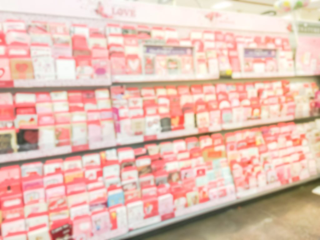 valentine greeting cards store