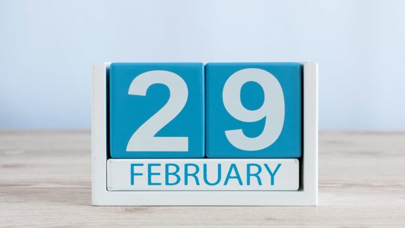 perpetual calendar showing february 29