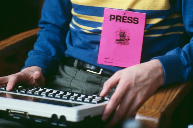 A journalist using a word processor at the New York Marathon, 27th October 1985