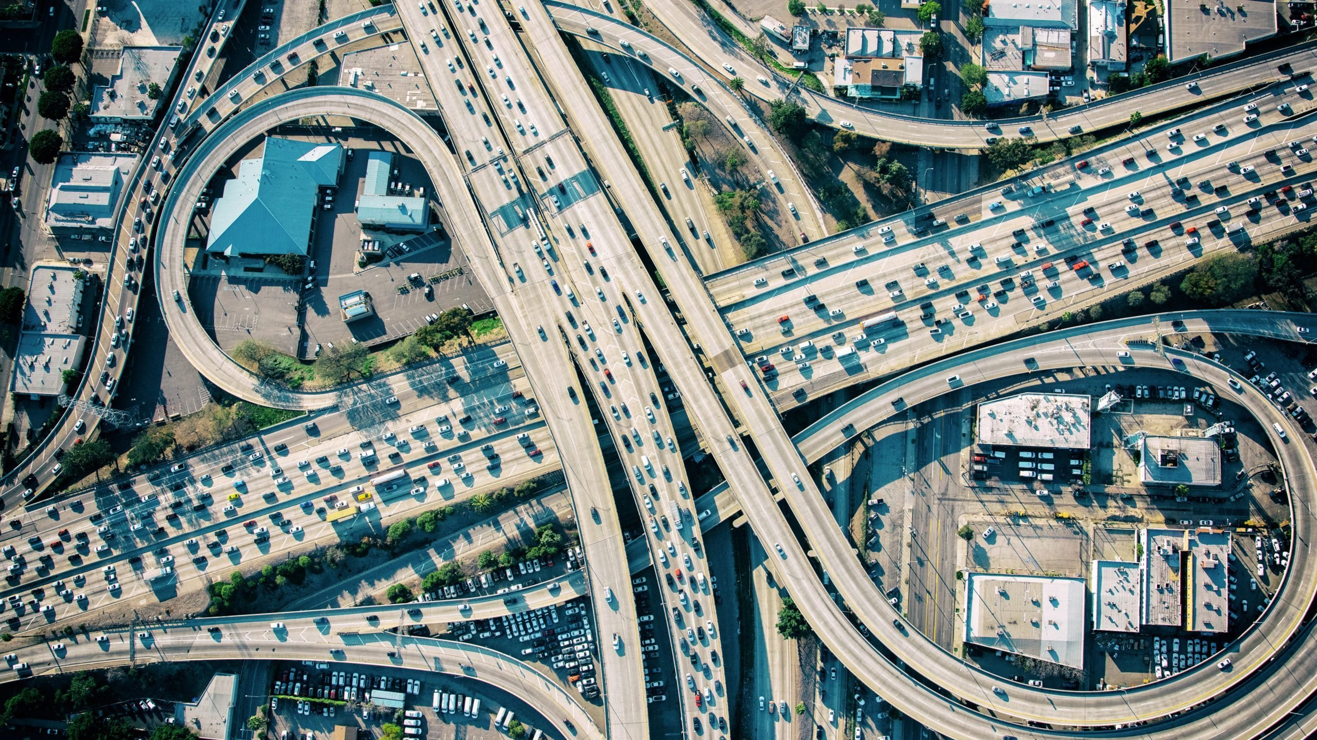 aerial view of a highway interchange