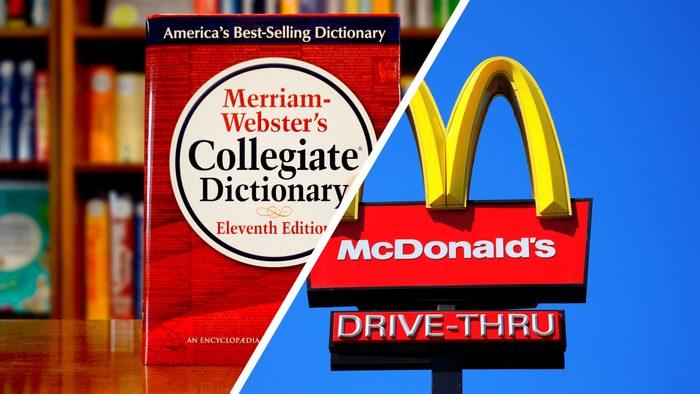 split screen: merriam-webster's dictionary and mcdonald's sign