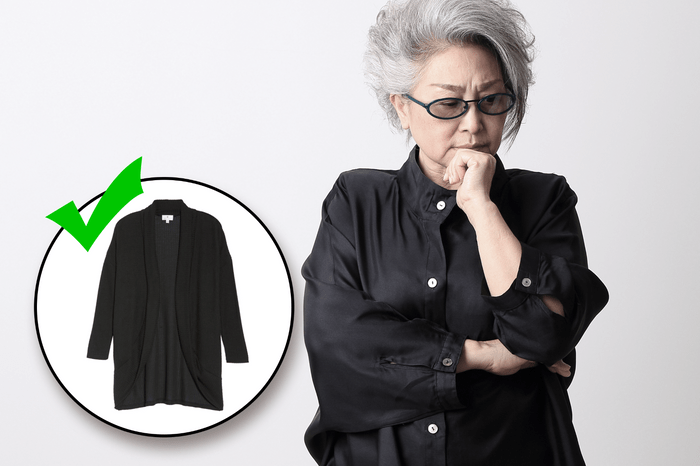 woman in black shirt thinking with inset of black sweater