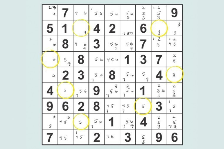 sudoku grid showing pencil markings and indicating single candidate squares