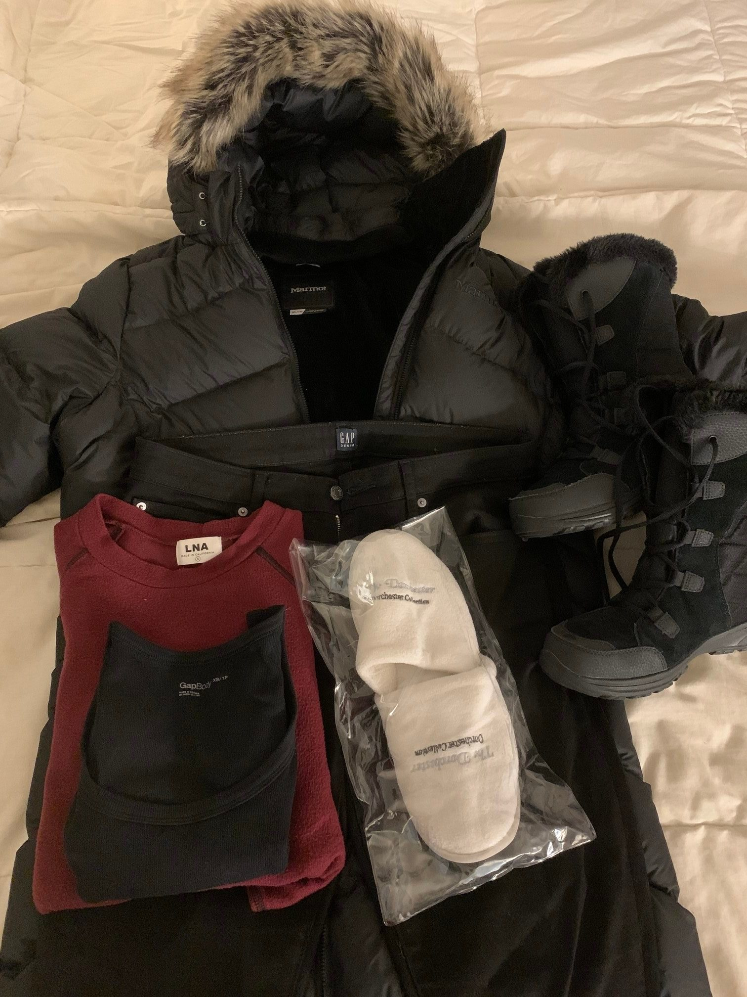 winter clothes on plane pack carry on two weeks international travel