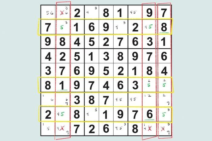 sudoku grid showing swordfish technique