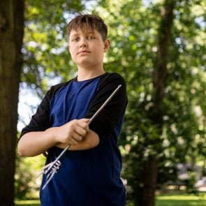 Xavier Cunningham holds the skewer that impaled him in the eye