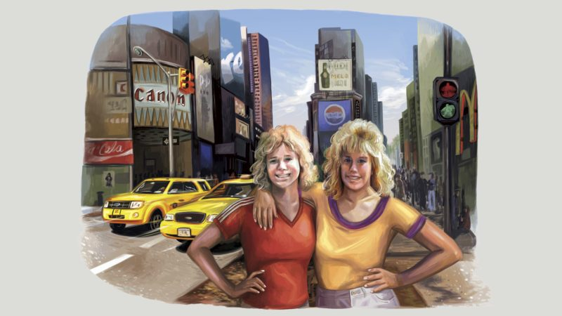 illustration of two sisters with new york city background. illustration by gel jamlang