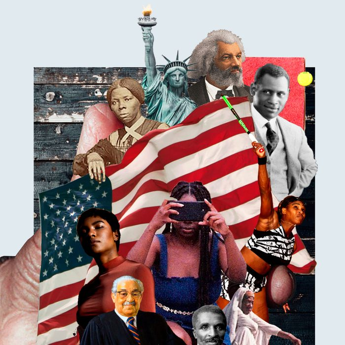 collage of famous black americans throughout history and the american flag held in the palm of a large hand