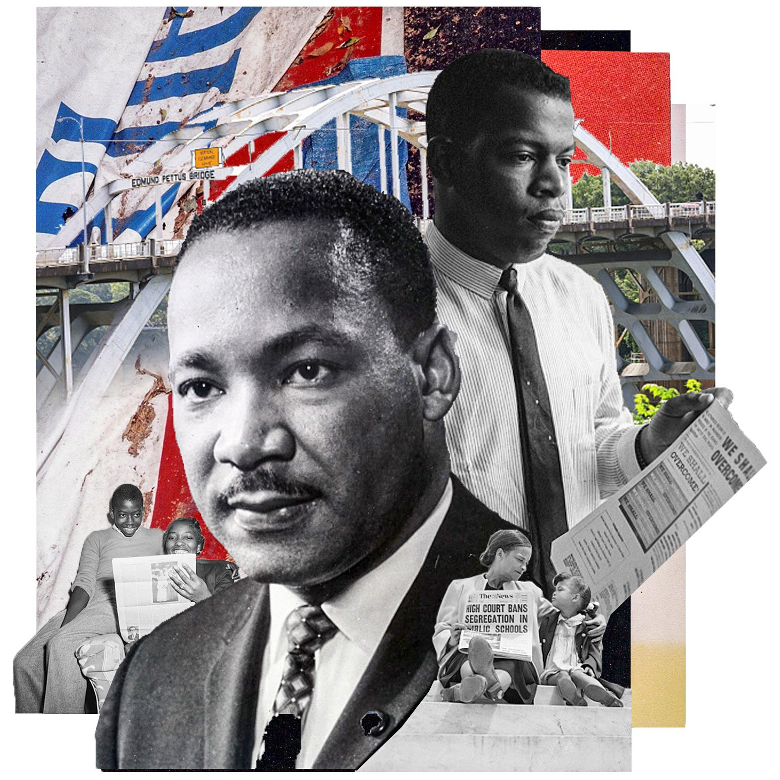 civil rights collage featuring Martin Luther King Jr. and Rep. John Lewis