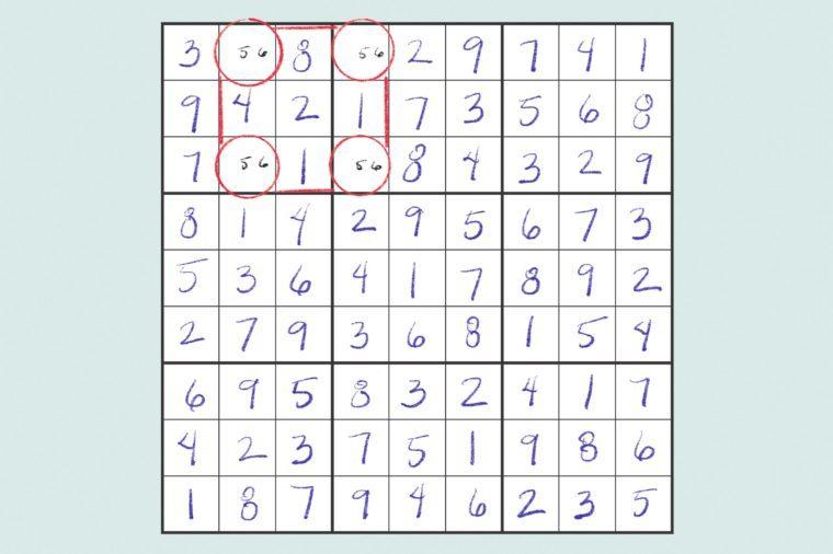 sudoku grid showing a unique rectangle