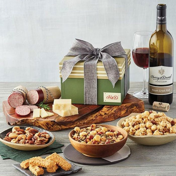 For the snacking connoisseur: Harry & David Gift Tower with Wine