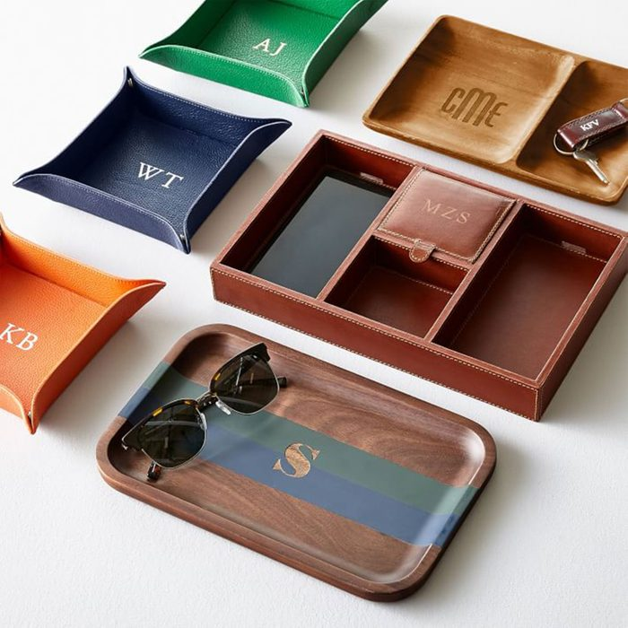 For the busy guy: Mark & Graham Rustic Leather Tech Catchall Tray