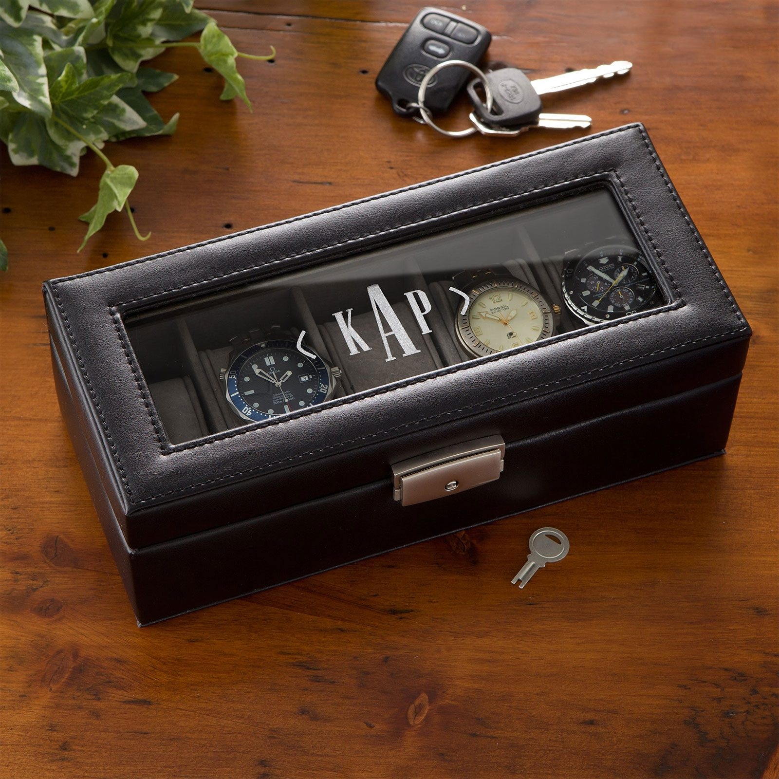 For the ever-punctual guy: Leather 5-Slot Personalized Watch Box