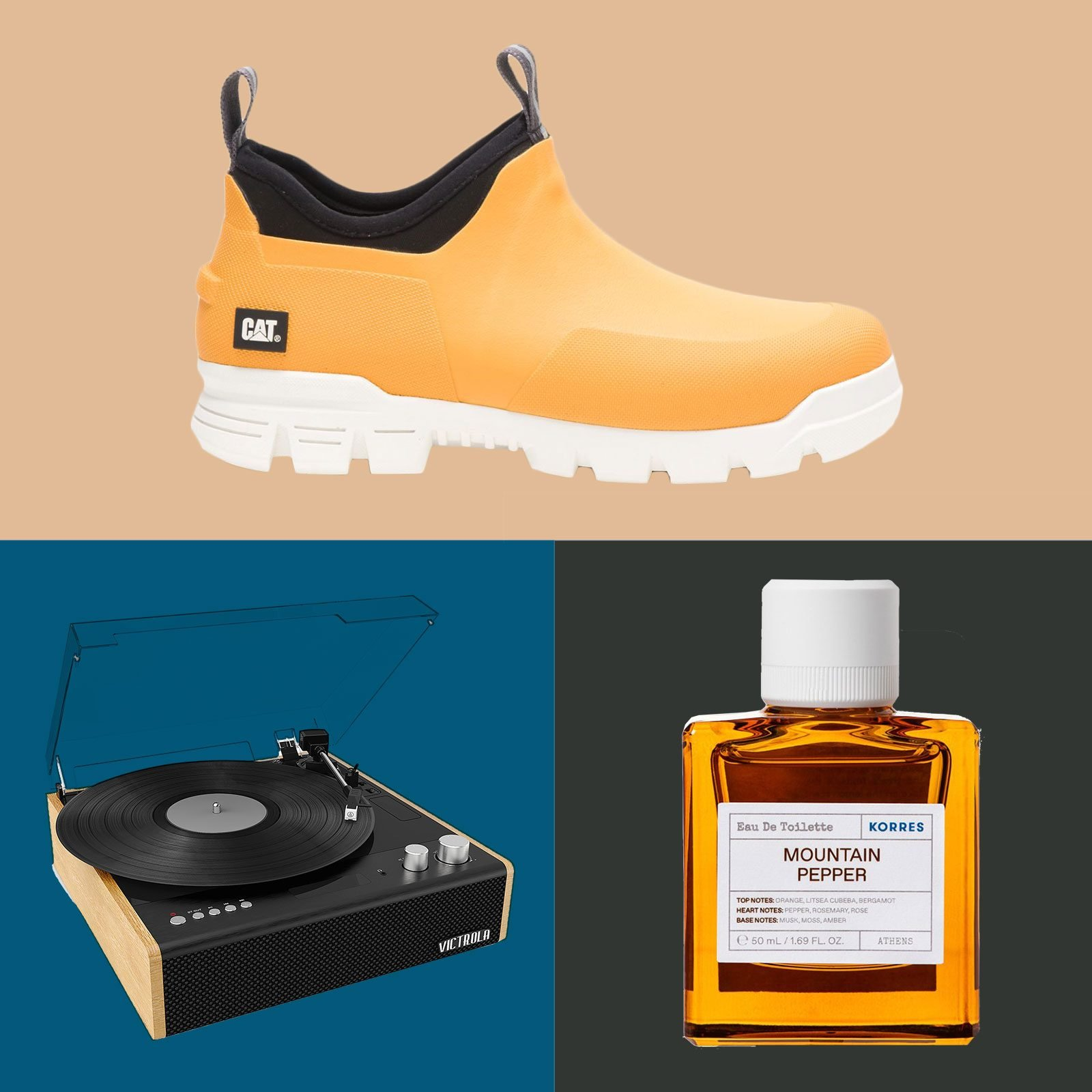 An orange shoe, vinyl record player, and cologne bottle