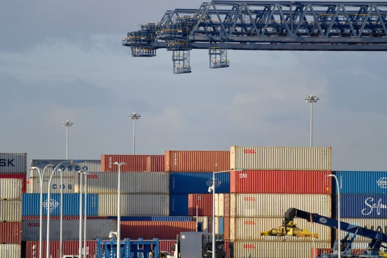Mandatory Credit: Photo by DEAN LEWINS/EPA-EFE/Shutterstock (10326772e) A general view of Port Botany shipping container terminal in Sydney, New South Wales, Australia, 03 July 2019. Australian Bureau of Statistics (ABS) figures out for May 2019 Australia's trade surplus increased to 5.75 billion Australian dollar (about four billion US dollar) in May, from 4.82 billion Australian dollar (about 3.3 billion US dollar) in April. Exports were up four per cent for the month, while imports were up one percent, the ABS said on 03 July. ABS figures for Australia's trade surplus in May 2019, Sydney - 03 Jul 2019