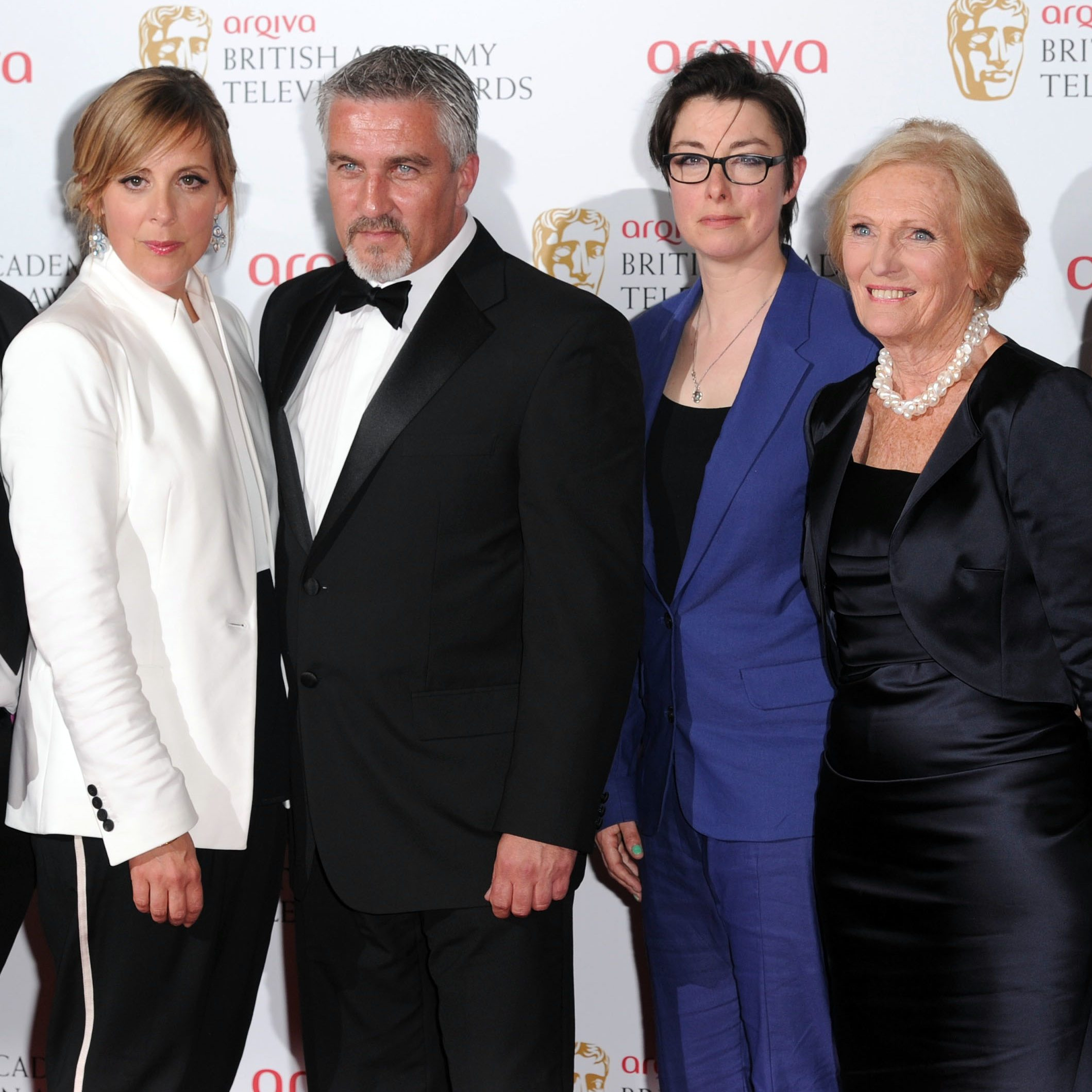 Mandatory Credit: Photo by David Fisher/Shutterstock (2334646gk) Best Features award for 'The Great British Bake Off' winners - Kieran Smith, Mel Giedroyc, Paul Hollywood, Sue Perkins, Mary Berry, Anna Beattie, Amanda Westwood Arqiva British Academy Television Awards, press room, Royal Festival Hall, London, Britain - 12 May 2013