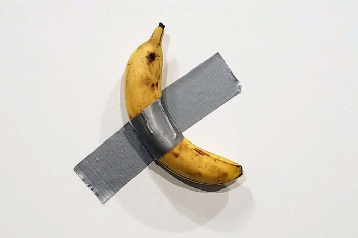Mandatory Credit: Photo by RHONA WISE/EPA-EFE/Shutterstock (10492891h) Italian artist Maurizio Cattelan's piece 'Comedian' (a banana duct taped to the wall) is shown during Art Basel in Miami, Florida, USA, 05 December 2019. Art Basel represents over 250 art galleries onsite at the Miami Beach Convention Center and is considered one of the world's largest art festivals with art events throughout the city. Art Basel, Miami, USA - 05 Dec 2019