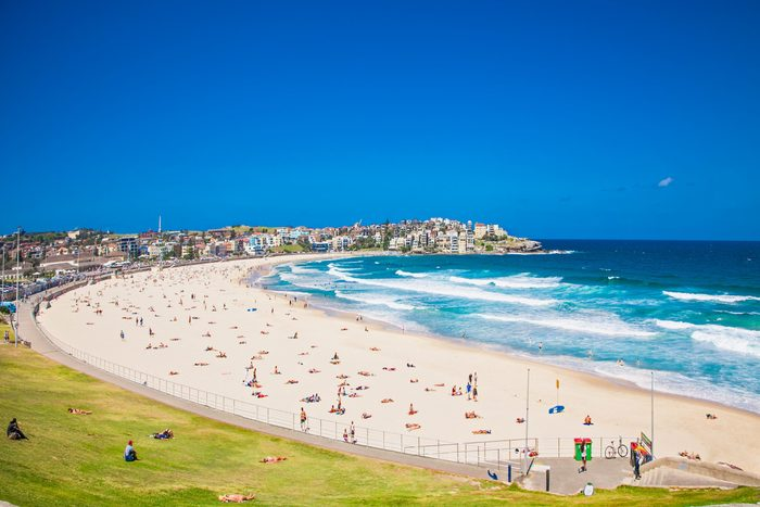 People relaxing on the Bondi beach in Sydney, Australia. Bondi beach is one of the most famous beach in the world.