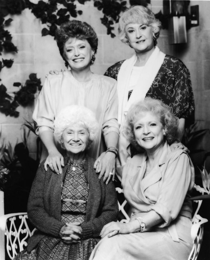 Promotional portrait of the cast of the TV series, 'The Golden Girls,' 1980s. CW, from top left: Rue McClanahan, Bea Arthur, Betty White and Estelle Getty.