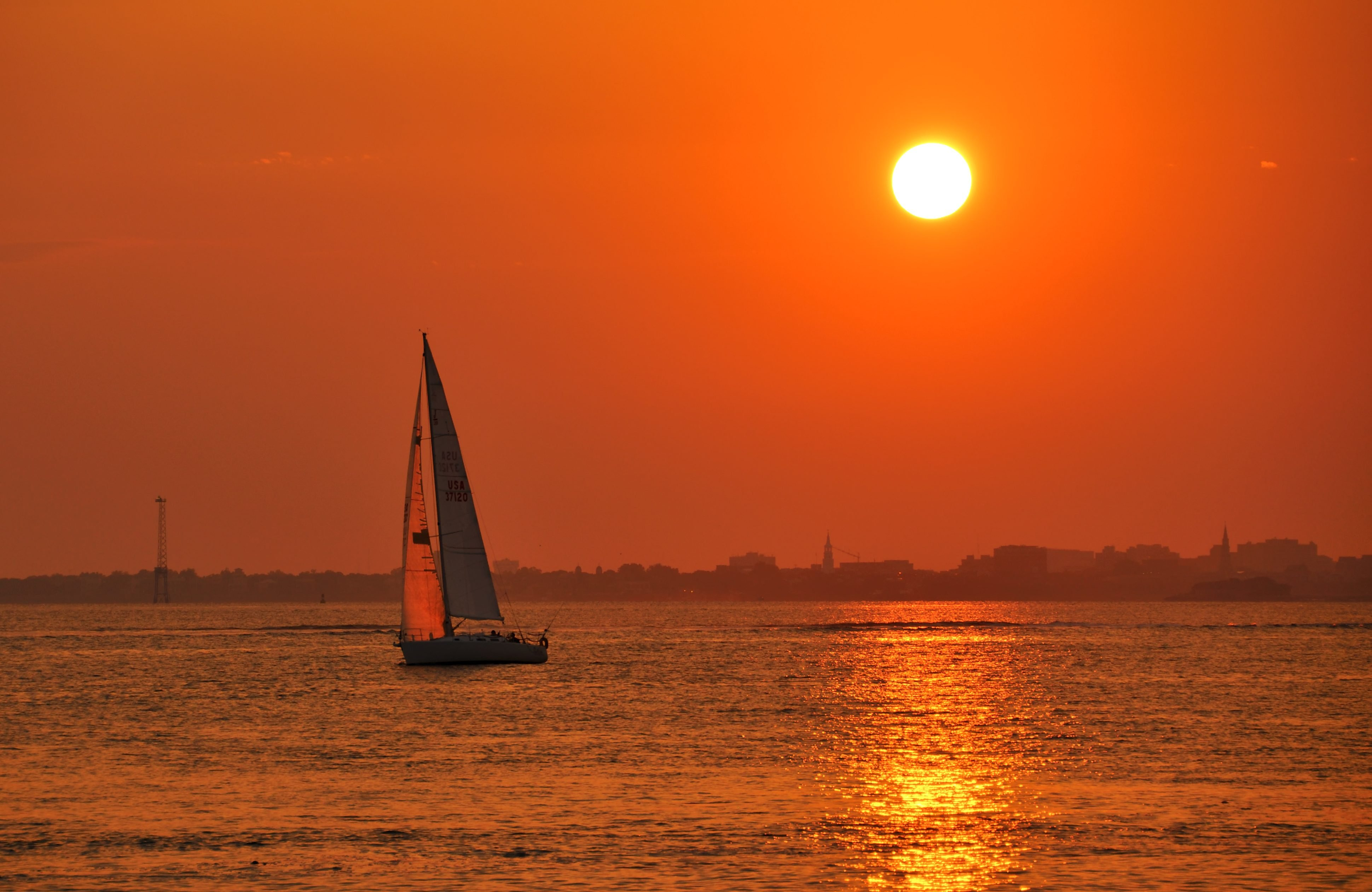 Sunset sailboat cruise on Charleston South Carolina Harbor