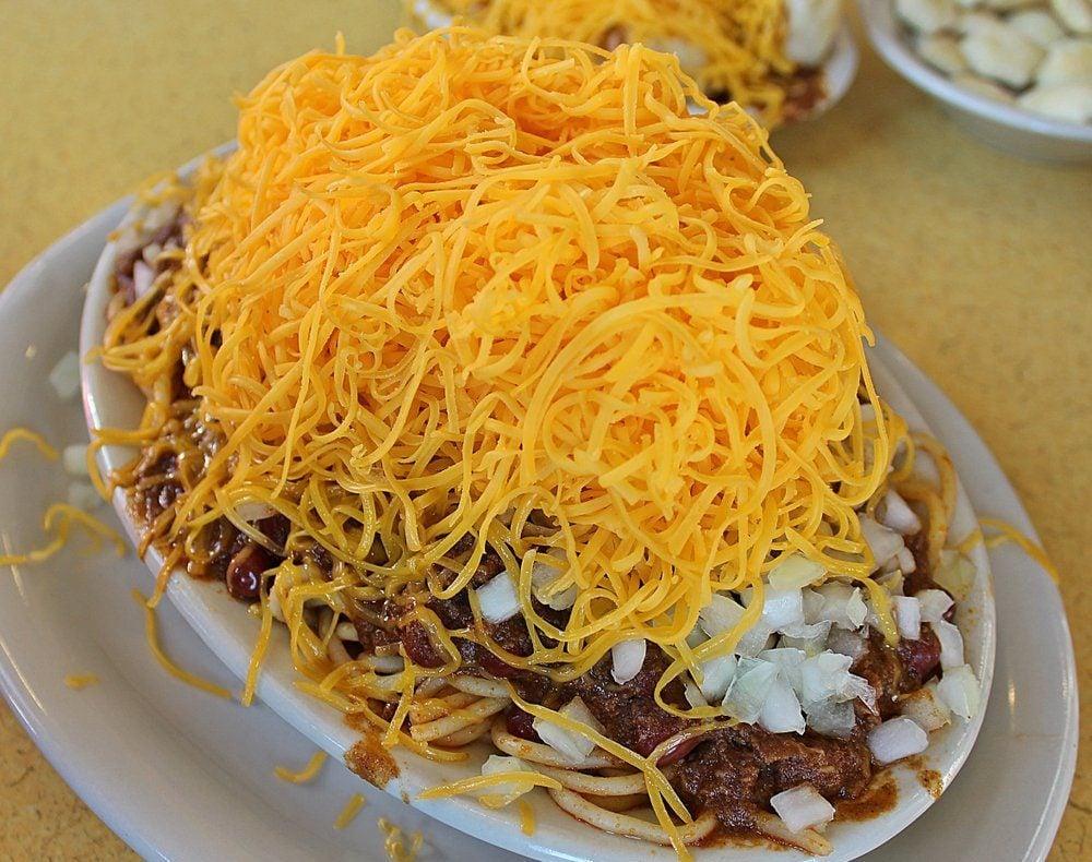 Cincinnati style 5-way chili; Shutterstock ID 1132311257