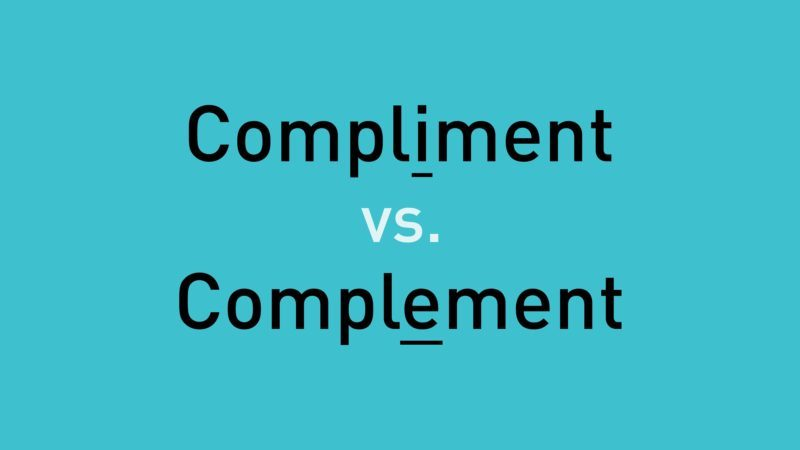 """text, """"compliment vs. complement"""" on teal background"""