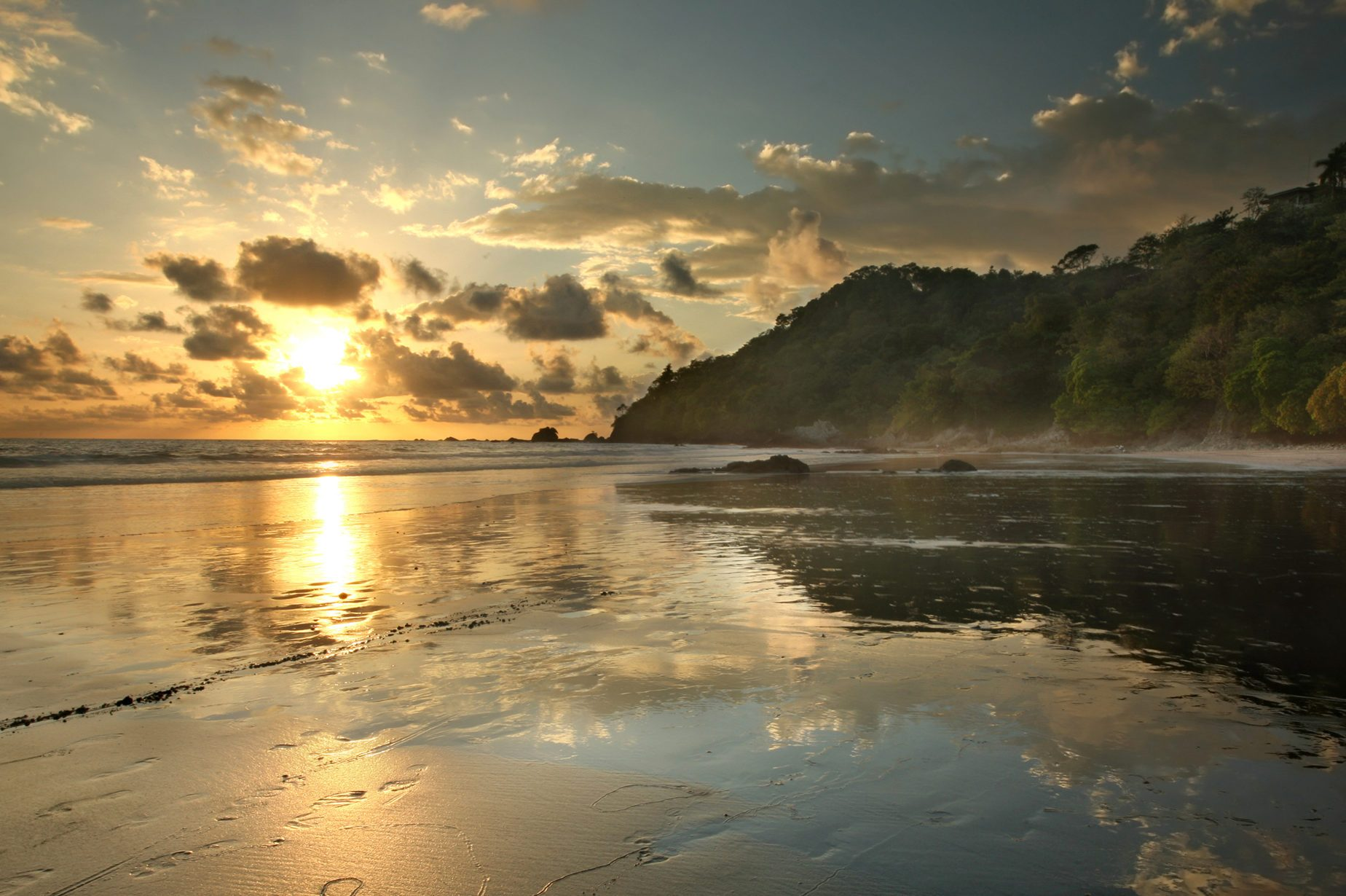 Jungle beach in Costa Rica at sunset, Manuel Antonio Park