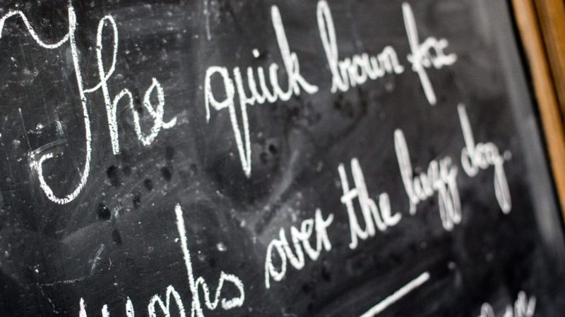 Handwriting on chalkboard in victorian style