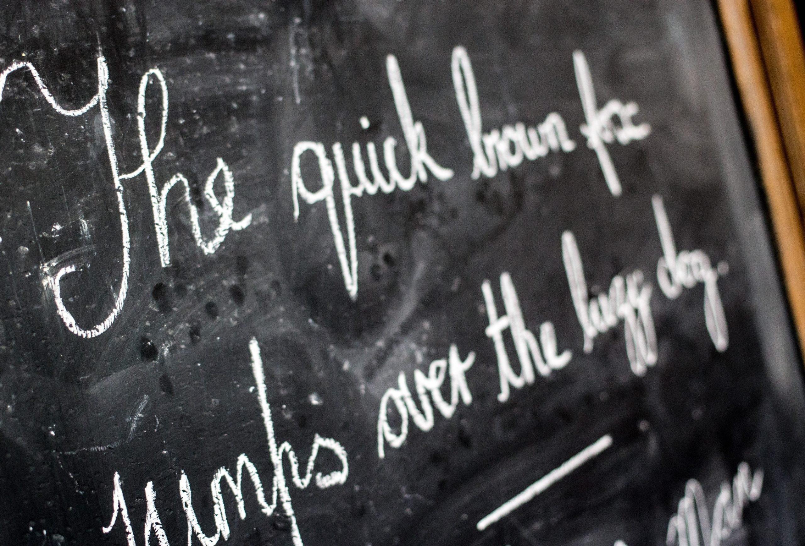 Handwriting on chalkboard in victorian style